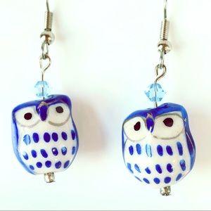 Jewelry - Ceramic Owl Bird Drop Pierced Earrings